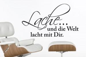 """Wandtattoo """"Lache und die Welt..."""" W94 (28x16 cm) schwarz"""