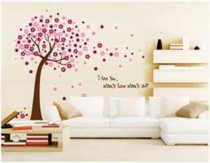 Colorfulworld pink Blumen Baum Wandtattoo Wandaufkleber Wall sticker- Bogen Gr. 50*70cm
