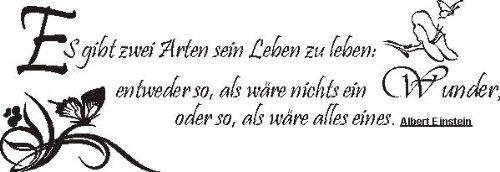 """WANDTATTOO f452 Sprüche & Zitate """"Es gibt zwei Arten ..."""" Albert Einstein 80x27 cm - schwarz"""
