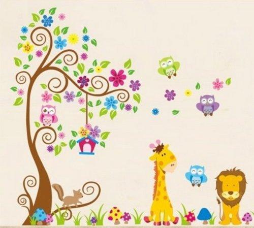 Wandtattoo dschungel wald l we giraffe eichh rnchen eule for Wandtattoo lowe