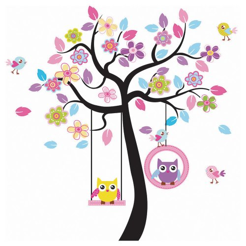 Songmics Cartoon Eule Baum Vogel für Kinderzimmer Wandtattoo Bunt FWT009