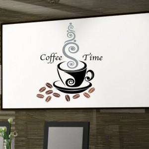 Wandtattoo Küche Kaffee farbiger Aufkleber Coffee Time Cafe Wandaufkleber Mokka, Größe:breite 34cm x höhe 24cm;Motive:Design Nr.1