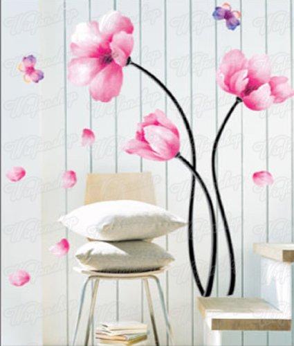 Wandaufkleber Wandtattoo Wandsticker Blumen & Schmetterling WAK-034