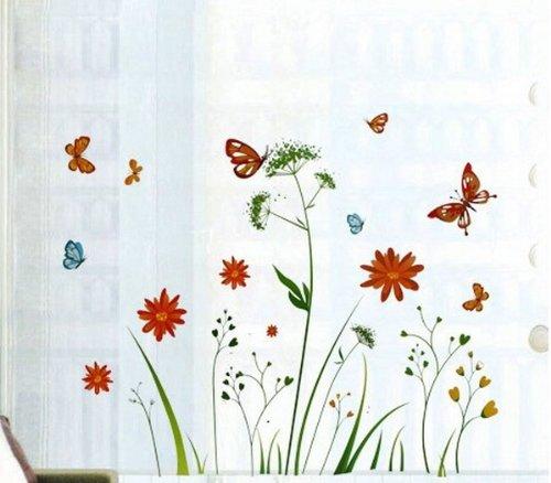Wandtattoo Bunte Blume Pflanzen Schmetterling Wandmotiv Schlafzimmer Sofa im Wohnzimmer TV Wandaufkleber