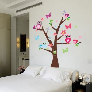 wandaufkleber wandtattoo wandsticker pvc wanddeko bunt eule blumen baum. Black Bedroom Furniture Sets. Home Design Ideas