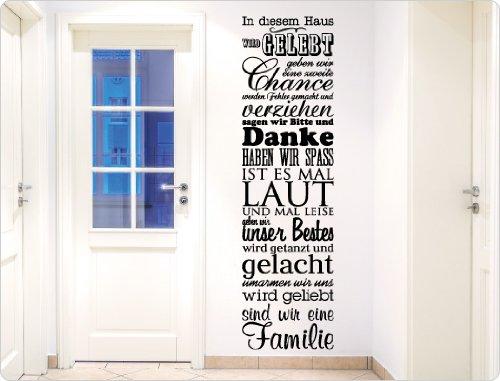 """I-love-Wandtattoo 11498 Wandtattoo Spruch""""In diesem Haus wird gelebt"""" Wanddekoration (Schwarz, 41 x 150 cm)"""