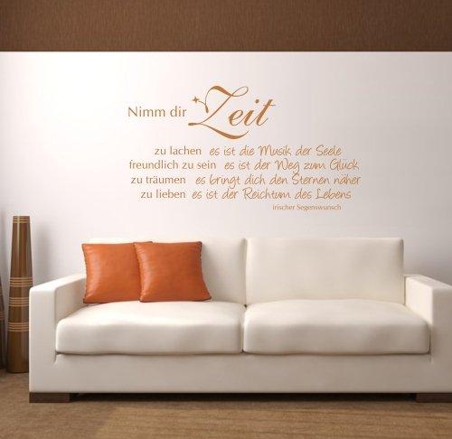 """Wandtattoo """"Nimm dir Zeit"""", Spruch 140x75 + Rakel"""