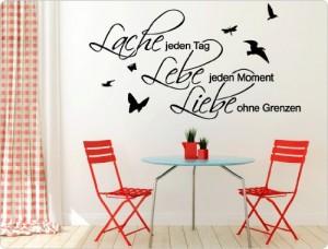 """I-love-Wandtattoo 11426 Wandtattoo """"Lache jeden Tag. Lebe jeden Moment. Liebe ohne Grenzen."""""""