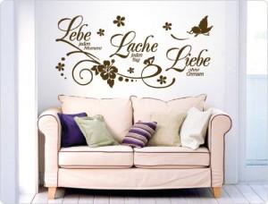 """I-love-Wandtattoo 11503 Wandtattoo Spruch """"Lebe jeden Moment, Lache jeden Tag, Liebe ohne Grenzen."""""""