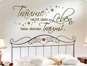 """I-love-Wandtattoo 10274 Wandtattoo Spruch """"Träume nicht dein Leben, lebe deinen Traum"""" Wanddekoration (Dunkelrot, 80 x 37 cm)"""