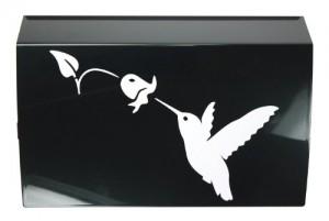 Lini® Sticker: Kolibri mit Glockenblume Aufkleber Hummingbird Bell Flower Tattoo entworfen für Auto, Fenster, Fliesen... (weiß)