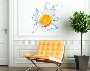 Wandtattoo mehrfarbig No.434 Frische Orange, Größe:37x40cm