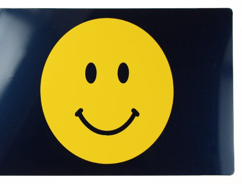 Lini® Sticker: Smiley Hardy Aufkleber - Don't worry, be happy Smiley - Tattoo entworfen für Auto, Fenster, Fliesen... (gelb)