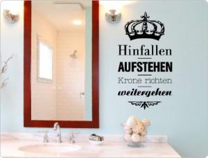 """I-love-Wandtattoo 11431 Wandtattoo Spruch """"Hinfallen. Aufstehen. Krone richten. Weitergehen."""" Wanddekoration (Schwarz, 44 x 80 cm)"""
