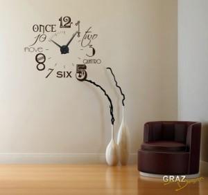 Wandtattoo Uhr Wanduhr Zahlen international modern NEU (Uhr Schwarz/Aufkleber Schwarz)