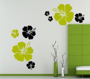 Hibiskusblumen Set Wandtattoo 12 vers. Sets, 42 vers. Blumenformen und 42 vers. Farben