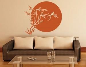 Wandtattoo Sonne Japans ( Größe: 60cm x 54cm - Farbe: schwarz ) Motiv-Nr: 1872