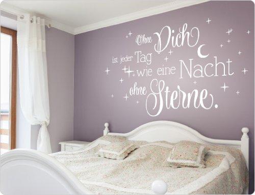"""I-love-Wandtattoo 11547 Wandtattoo Spruch """"Ohne Dich ist jeder Tag wie eine Nacht ohne Sterne."""""""