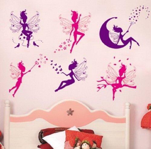 Babyzimmer wandtattoo mädchen  Wandtattoo Fee auf Mond engelchen tanzen -sternen -Blumen ...