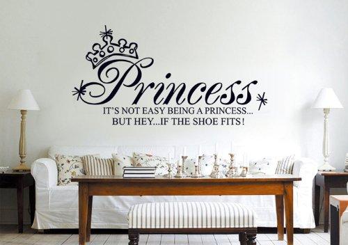 """UfingoDeko """"It's Not Easy Being a Princess, But Hey, If The Shoes Fits"""" Zitate und Sprüche Wandsticker,Kinderzimmer Babyzimmer Entfernbare Wandtattoos Wandbilder"""