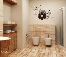 Wandtattoo Uhr mit Uhrwerk Wanduhr Design Frühling Blume mit Schmetterling Deko für Wohnzimmer für Küche (Uhr Silber/Aufkleber Braun)