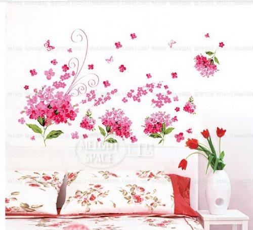 Wandtattoos Bunte Blumen Pflanzen Schmetterlings Decals Abnehmbare für Kids Mädchen Schlafzimmer Sofa im Wohnzimmer TV Wandaufkleber Wandmotiv