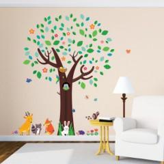 Decowall, DM-1312, Big Tree und Tierfreunde Wandsticker/Wandtattoo