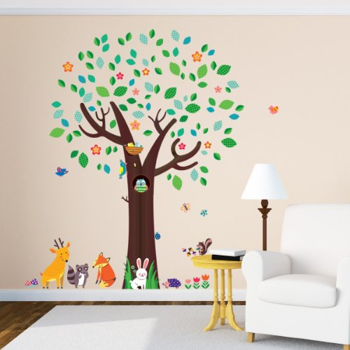 Decowall, DM 1312, Big Tree Und Tierfreunde Wandsticker/ Wandtattoo Baum