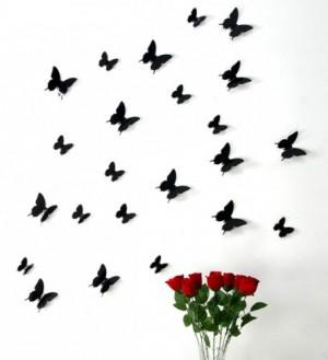 Stickerkoenig Schmetterlinge in 3D Optik Wandsticker, Wand Deko mit 3D Flügel Farbe Butterfly schwarz