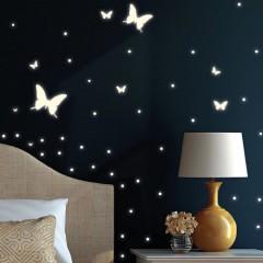 """Wandtattoo: 190 Leuchtaufkleber """"Schmetterlinge und Punkte"""" (leuchten im Dunkeln) - fluoreszierende Aufkleber"""