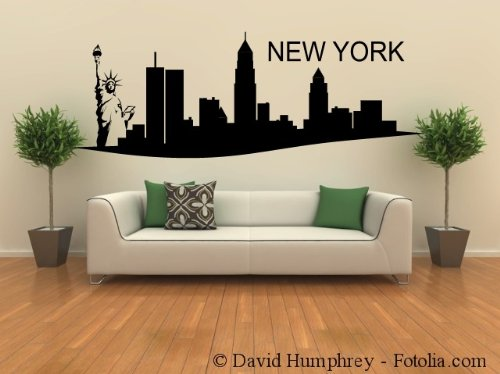 grosses wandtattoo wandaufkleber skyline new york 120x43cm. Black Bedroom Furniture Sets. Home Design Ideas