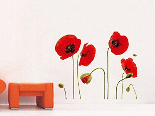 SmartLegend Abnehmbare Wandsticker Wallsticker Wandtattoo Größe: 50cm*70cm Home Decoration Rot Blumen Mohn fashion