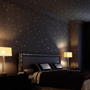 Wandtattoo: 350 fluoreszierende Leuchtpunkte für Sternenhimmel (bestehend aus 150 leuchtenden Sternen + 200 Punkten) - selbstklebende wandsticker, ideal für Kinderzimmer und Schlafzimmer!