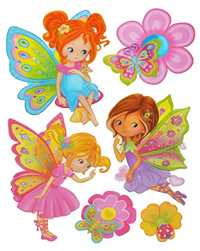 6 tlg. Set 3-D ! Wandtattoo / Fensterbild - Feen und Schmetterlinge - Folie selbstklebend - Fee Blumenfee Marienkäfer - Wandsticker Sticker Aufkleber - Kinderzimmer für Mädchen