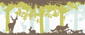Livingwalls Bordüre Fairyland, Tiere im Wald, blau, braun, grün, 131225