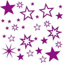 30 Stück Violette / Lila Sterne Aufkleber, Mix-Set, Fensterdekoration zu Weihnachten Fensterbild / Fensteraufkleber, Wandtattoo Deko Sticker, Autoaufkleber, Weihnachtsdekoration, Schaufenster In- und Outdoor Sternchen, Autoaufkleber 70001