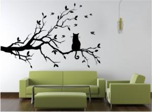 Wandtattoo Katze auf Ast Nr. L202 Wandsticker Wandmotiv Wandaufkleber Wanddekoration