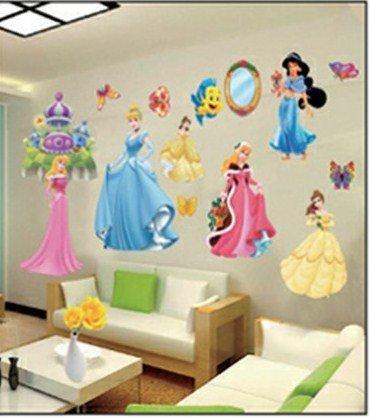 Princess Wandsticker Disney Wanddekoration Kinder Wandbild Aufkleber