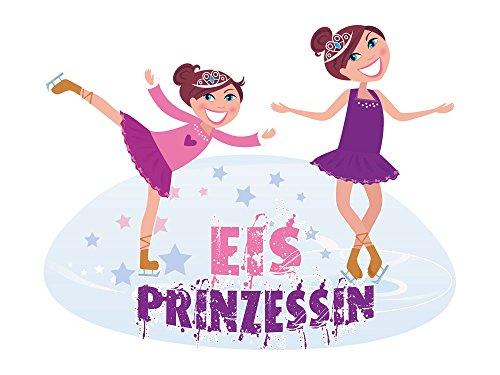 Wandsticker Sticker Wandaufkleber für Mädchenzimmer Spruch Eisprinzessin Deko (Größe=51x40cm)