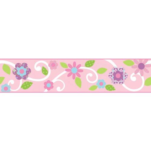 RoomMates 1457 selbstklebende Bordüre Blumen auf pinkfarbenem Hintergrund