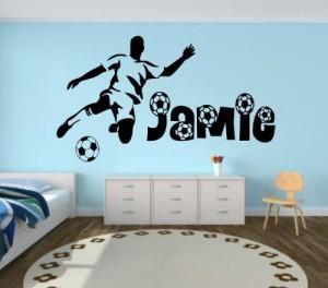 Fussball Wandaufkleber mit Namen