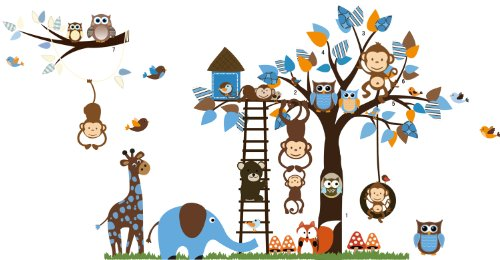 Jungle Waldtier Affe, Eichhörnchen und Eule Schaukel Spiel auf bunten blättern Baum Wandtattoo Wandaufkleber (L201)