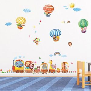 Decowall, DM-1406, Zug Tier und Heißluftballons Wand-Sticker