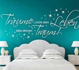 Wandtattoo-Günstig G026 Zitat Träume nicht dein Leben, lebe deinen Traum Wandaufkleber Wandsticker Schlafzimmer weiß (BxH) 150 x 58 cm